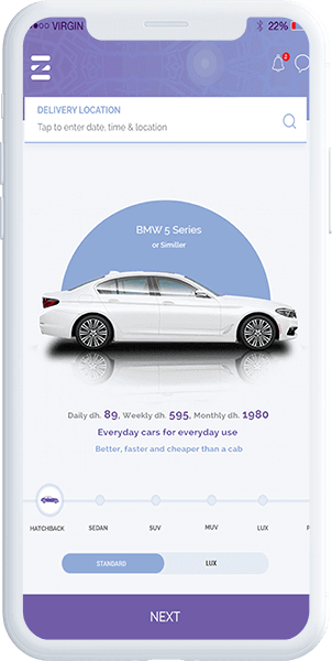 eZhire: Rent A Car Mobile App  Tap and Get The Car Delivered